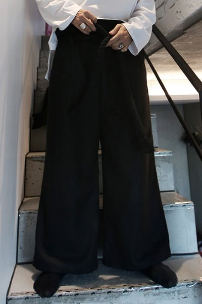 ByTheRByTheR Rope Belted Wide Baggy Pants