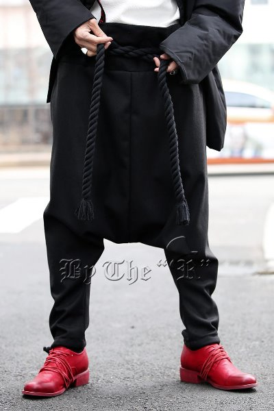 ByTheRByTheR Rope Belted Ankle String Baggy Pants