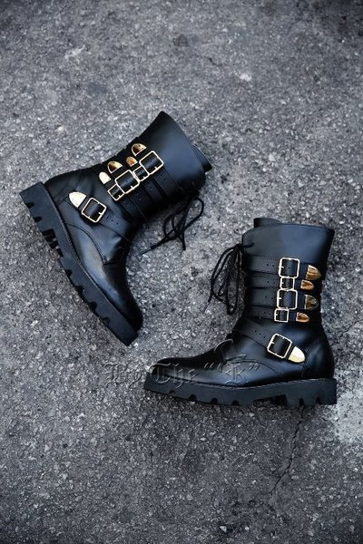 ByTheRFIve Belt Golden Buckle Combat Boots