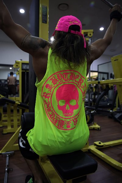 ByTheRByTheR Skull Logo Neon Mesh Tank Top(Lime, Restock 6/28)
