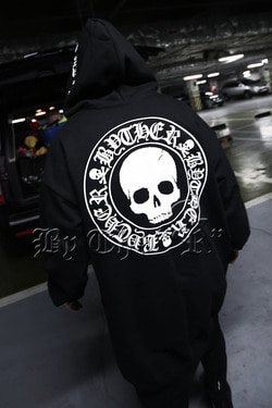 ByTheRByTheR Skull Logo Loose Zip-up Hoodie