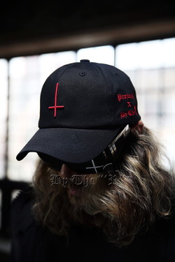 ByTheRByTheR X ProjectR Red Embossed Cross Embroidery Ball Cap