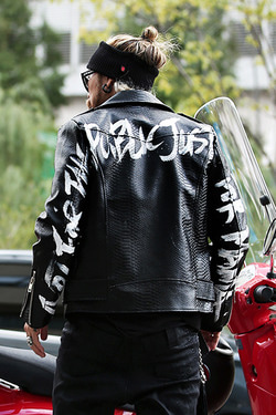 ByTheRByTheR Custom Slogan Sleeve Hand Painted Python Jacket