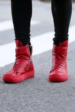 ByTheRDiagonal String Red Leather High-top Sneakers
