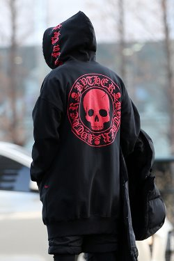 ByTheRByTheR Red Skull Logo Long Hoodie Zipper