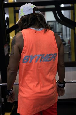 ByTheRByTheR Reflective Neon Lettering Scotch Tank Top