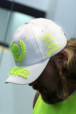 ByTheRByTheR Neon Embroidery White Ball Cap