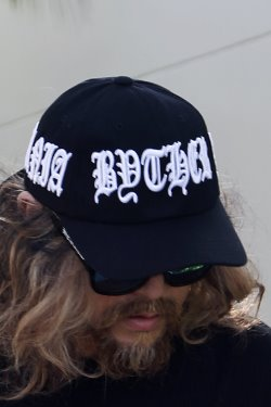 ByTheRByTheR White Lettering Embroidery Black Baseball Cap