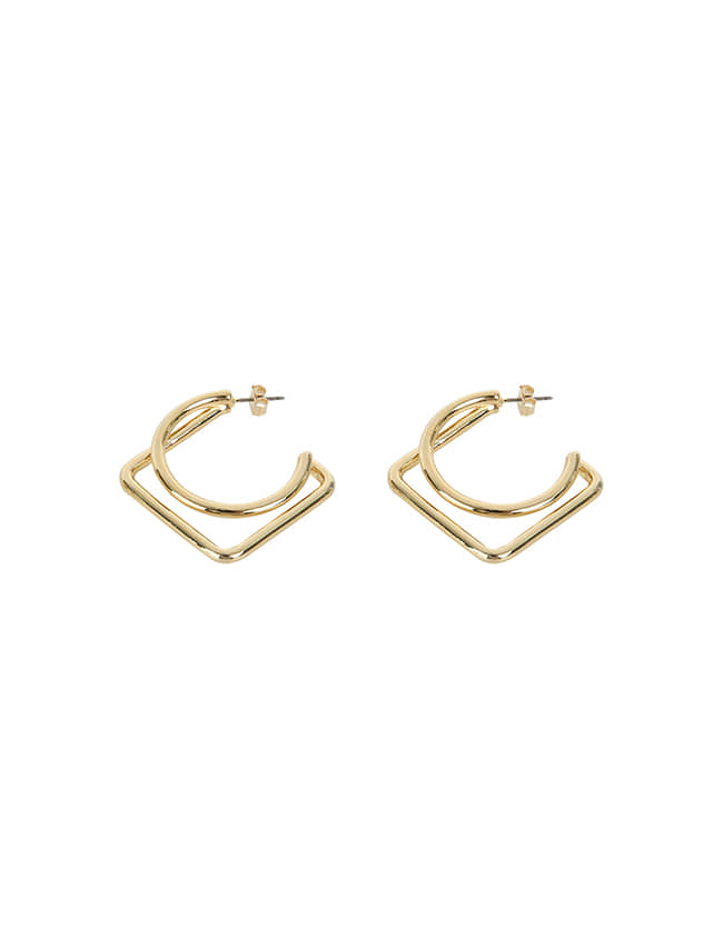 Gold-Tone Geometric Earrings