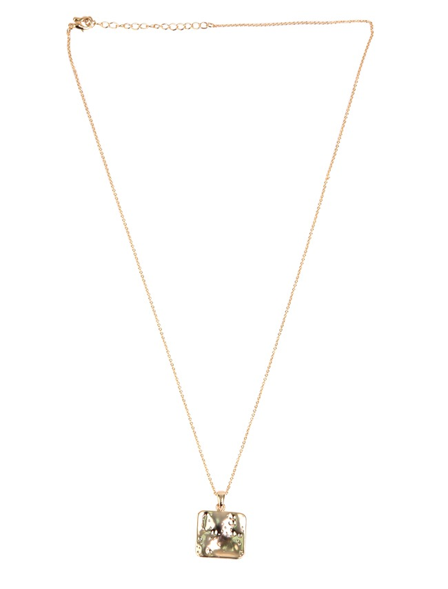 Gold-Tone Square Pendant Necklace