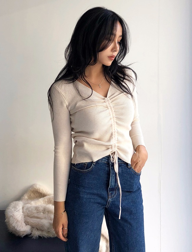 Beige Shirred Front Knit Top