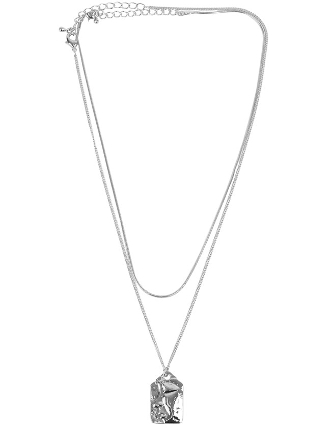 Silver-Tone Engraved Pendant Layered Necklace