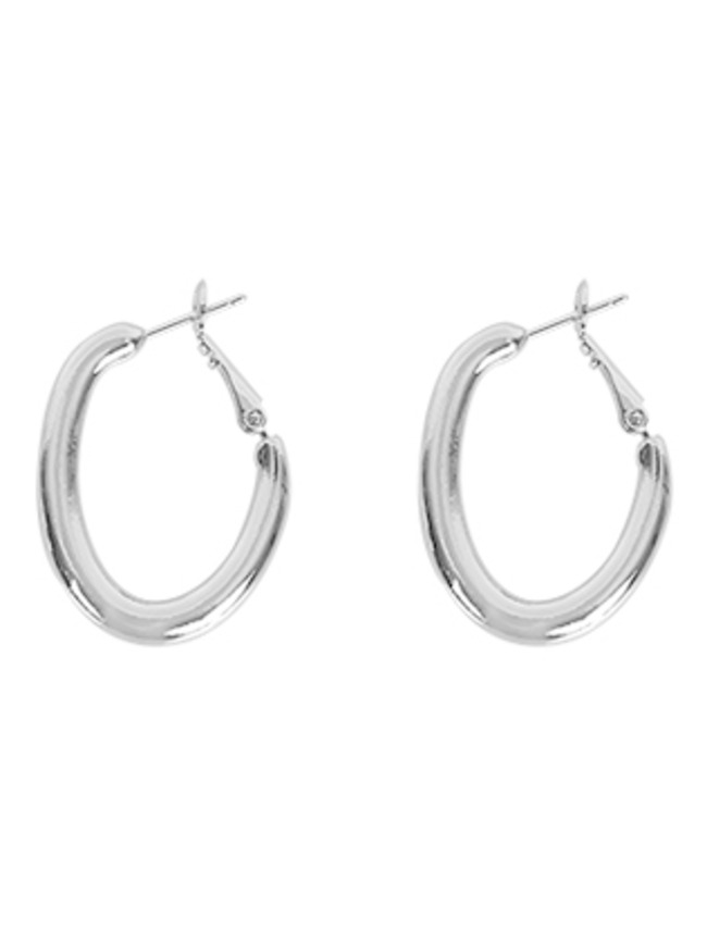 Matte Silver-Tone Oval Hoop Latch Earrings