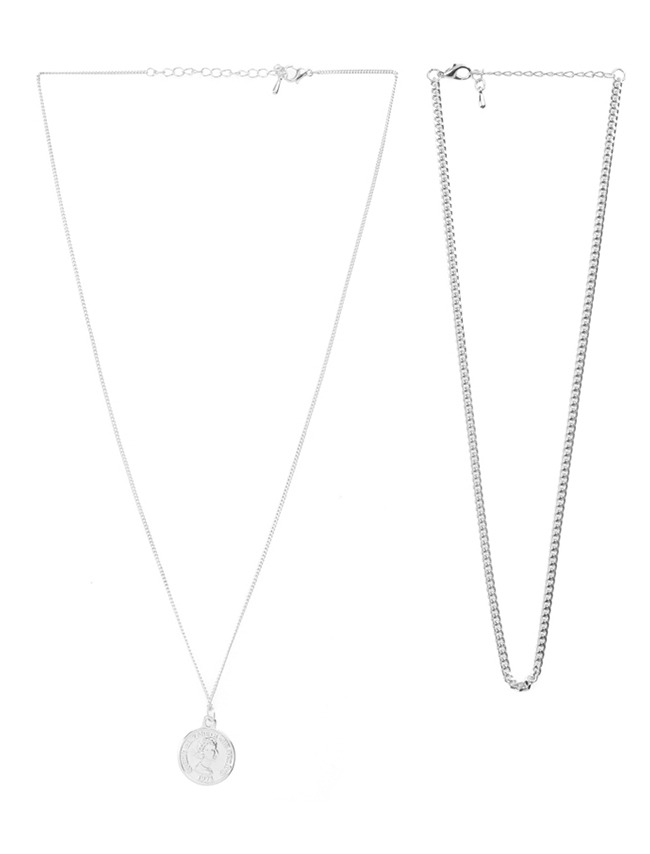 Silver-Tone Two-Piece Necklace Set