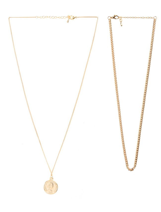 Gold-Tone Two-Piece Necklace Set