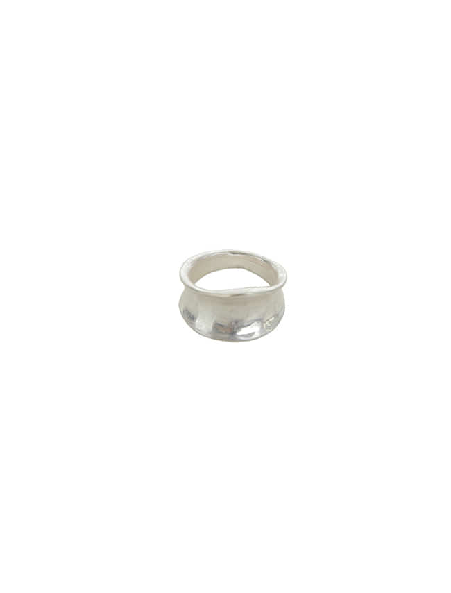 Silver-Tone Hammered Band Ring