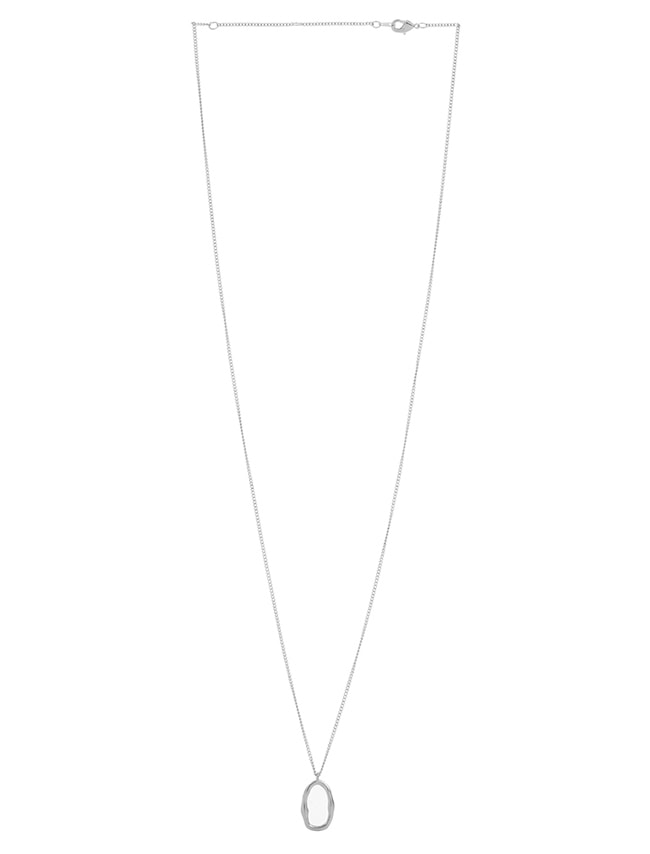 Silver-Tone Slim Oval Pendant Necklace