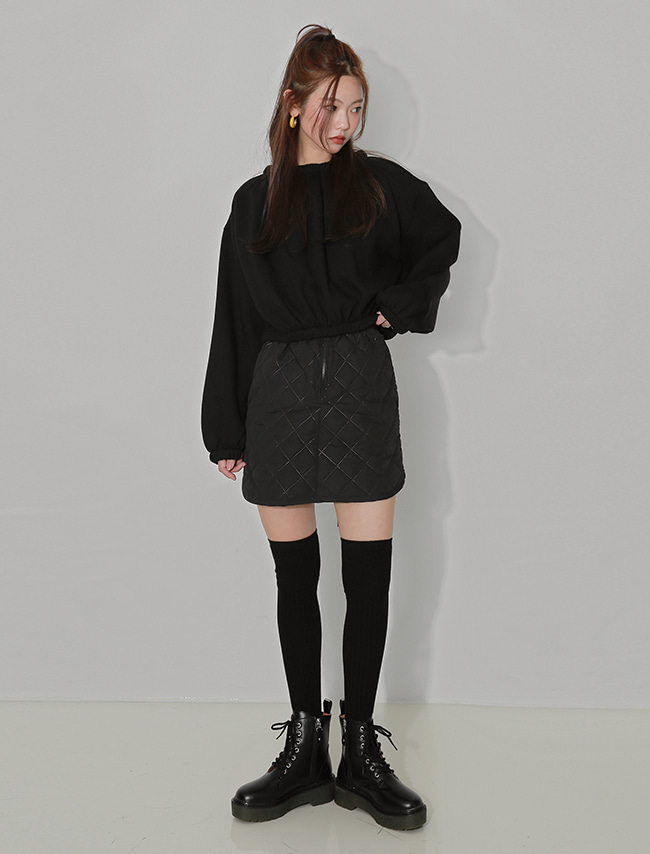 Black Diamond Quilted Belted Skirt