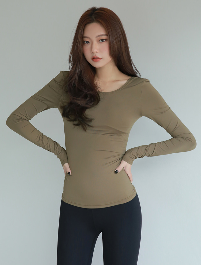 Olive Khaki Long Sleeve Slim T-Shirt