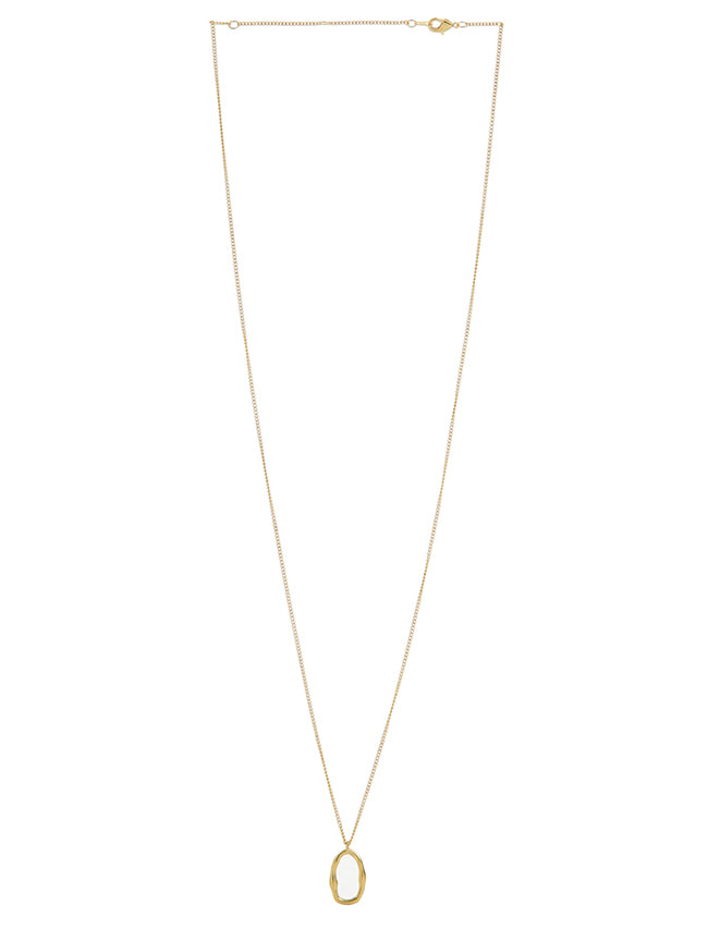 Gold-Tone Slim Oval Pendant Necklace