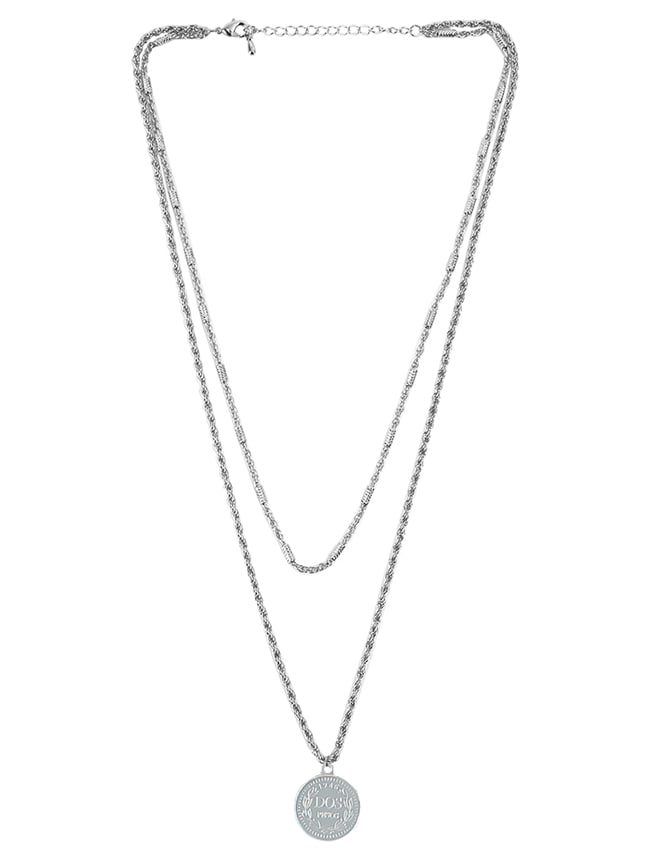 Silver-Tone Coin Pendant Layered Necklace