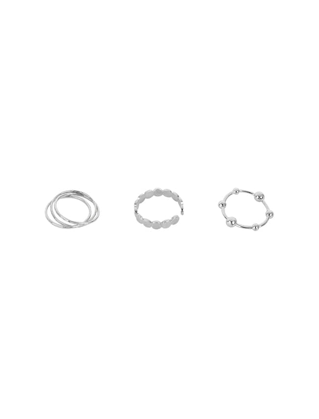 Silver-Tone Three-Piece Ring Set