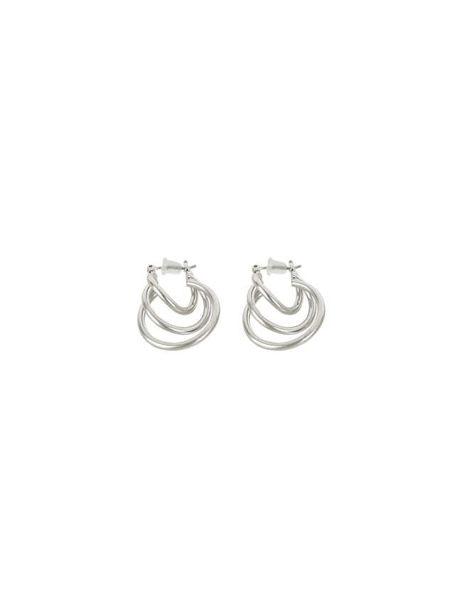 Silver-Tone Three-Loop Earrings