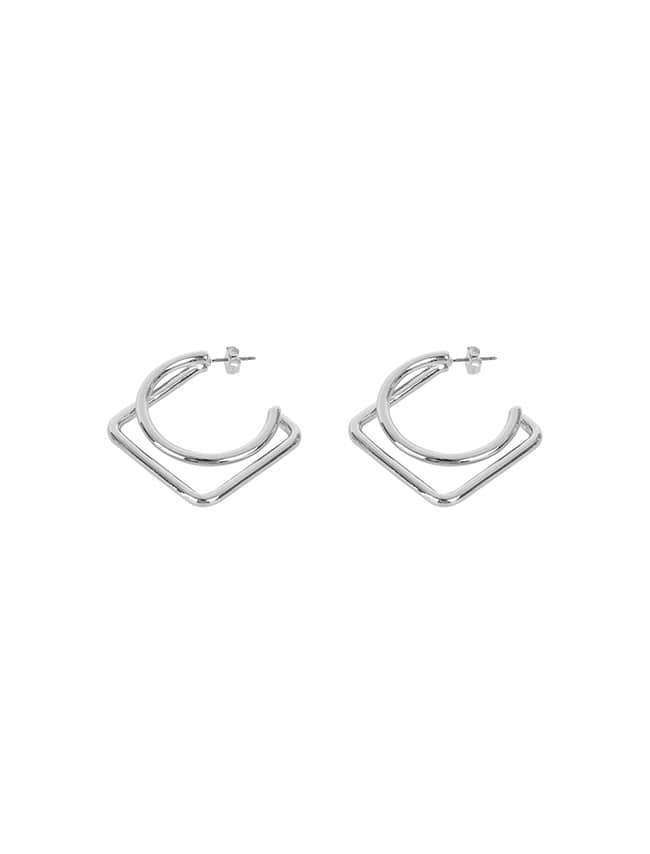 Silver-Tone Geometric Earrings