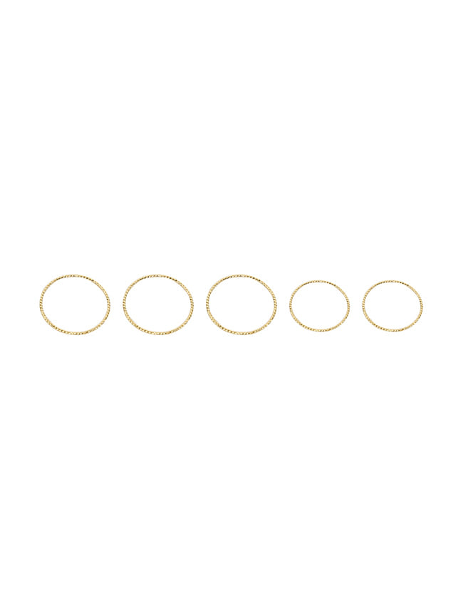 Gold-Tone Five-Piece Plain Band Ring Set