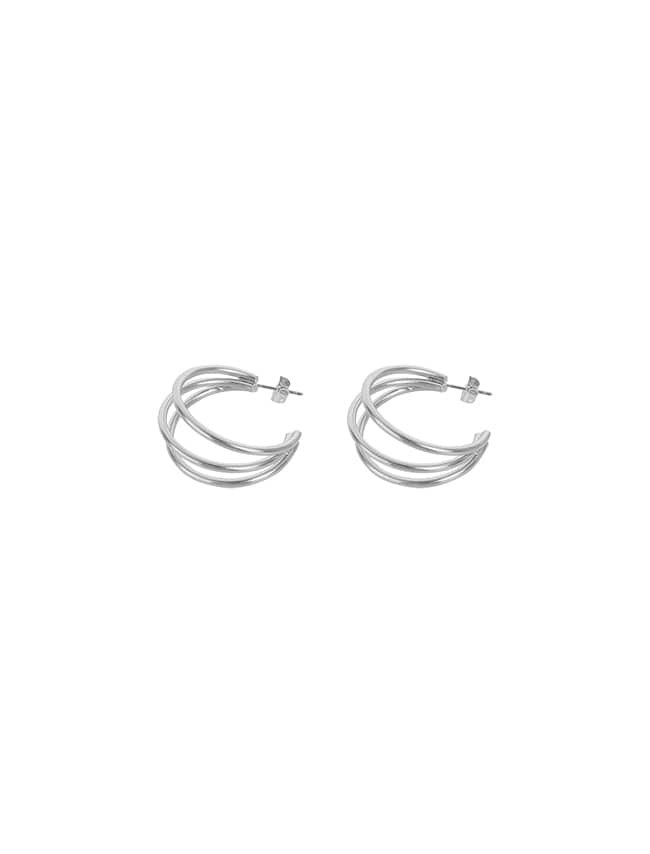 Silver-Tone Triple Open Hoop Earrings