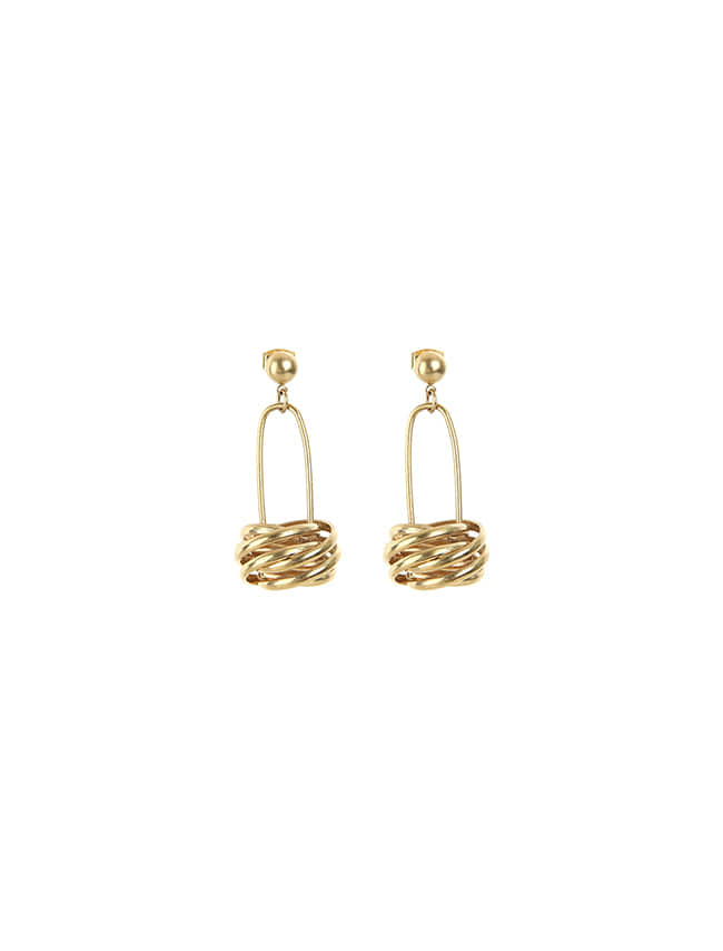 Gold-Tone Coil Drop Earrings