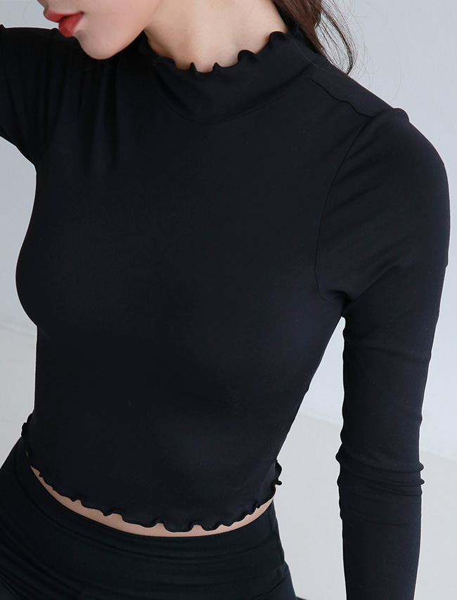 Black Frilled Cropped Workout Top