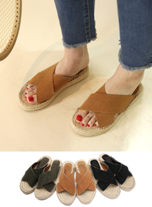 66GIRLSCross Strap Espadrille Sandals