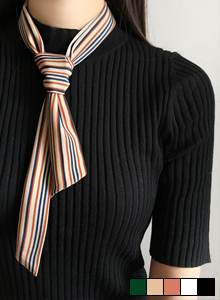 66GIRLSTwo-Tone Stripe Twilly Scarf