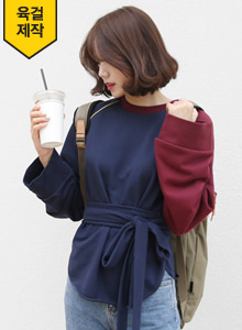 66GIRLSSelf-Tie Waist Raglan Sleeve Sweatshirt