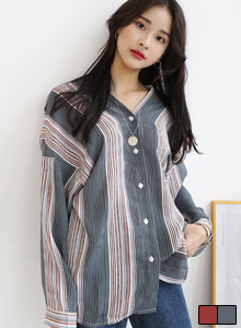 66GIRLSStripe V-Neck Blouse