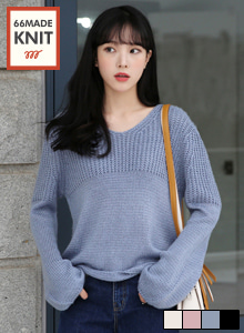 66GIRLSV-Neck Loose Fit Knit Top