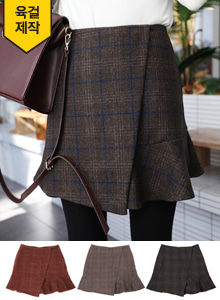 66GIRLSFrilled Check Faux Wrap Skirt