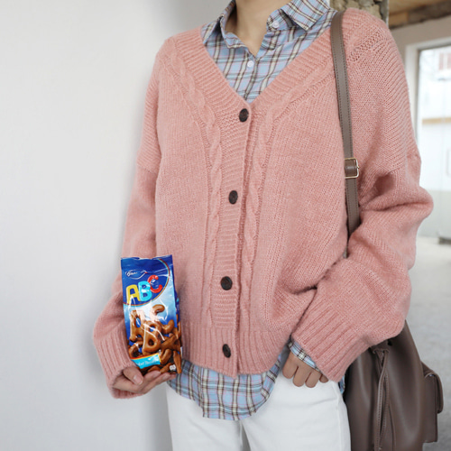 66GIRLSRibbed Trim Cable Knit Cardigan