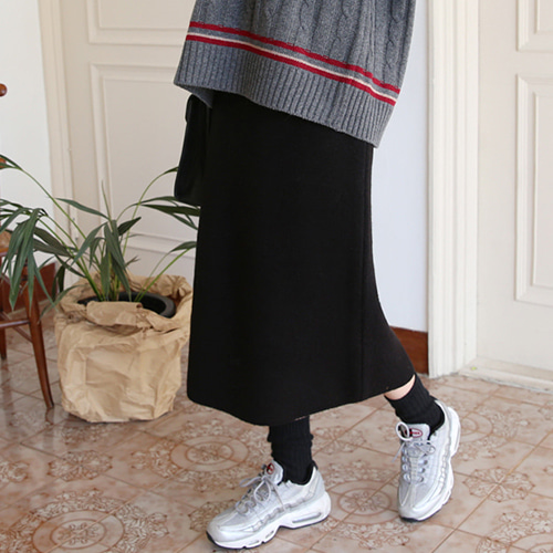66GIRLSElastic Waistband Knit Midi Skirt