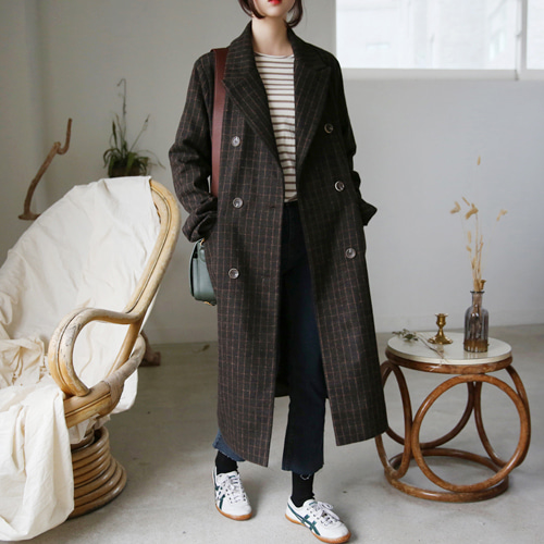 66GIRLSDouble Breasted Check Long Coat