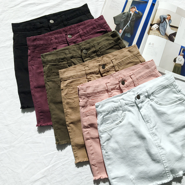 66GIRLSRaw Hem Straight Cut Skort