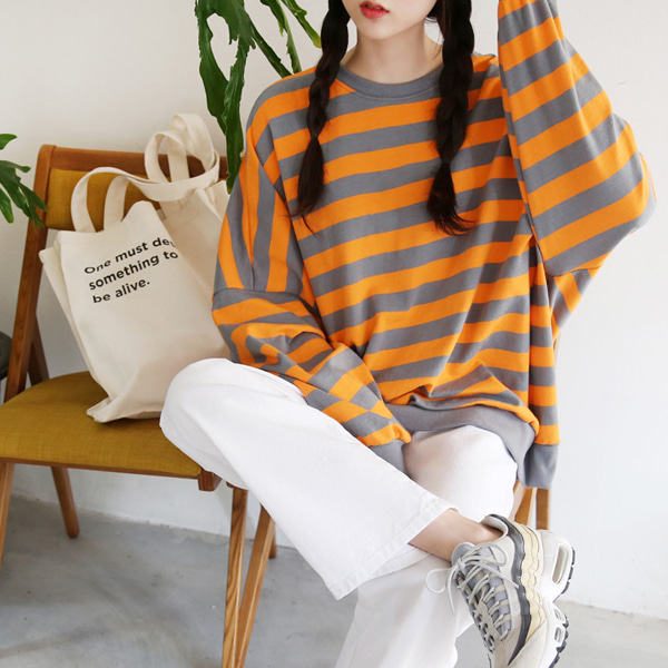66GIRLSDolman Sleeve Stripe Sweatshirt
