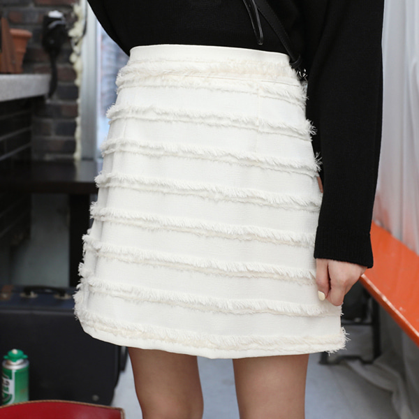 Semi Elastic Waistband Frayed Skirt