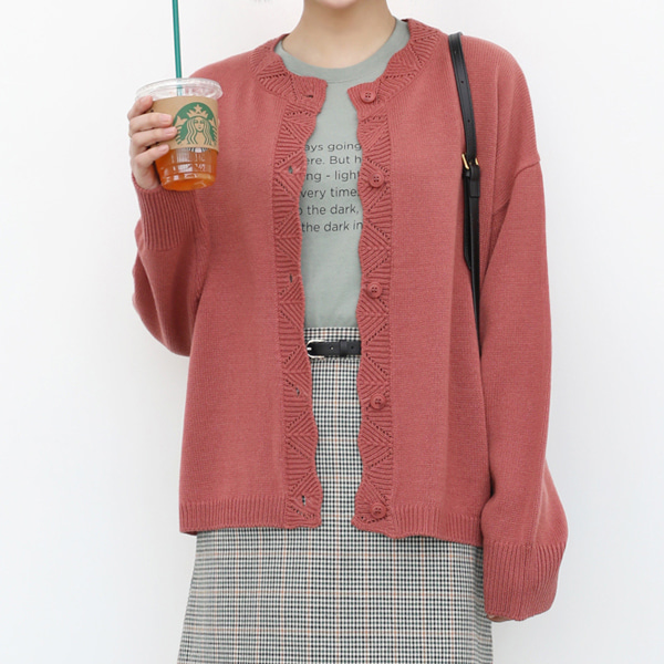 66GIRLSScallop Trim Loose Fit Cardigan