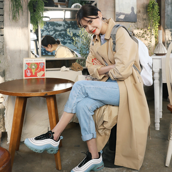 66GIRLSTie-Waist Double Breasted Trench Coat