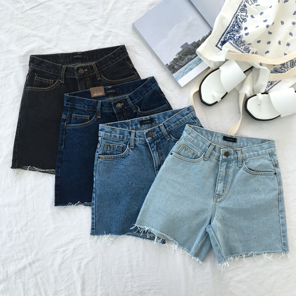 Mid Rise Raw Hem Denim Shorts