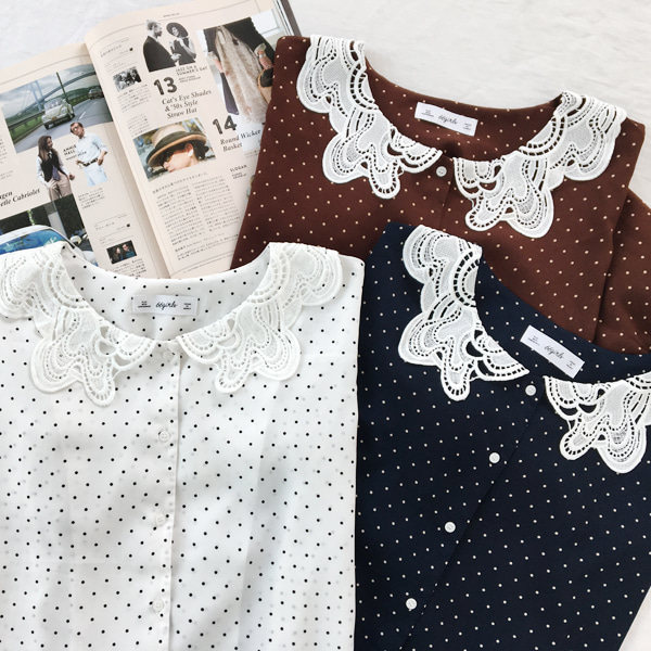 66GIRLSLace Collar Polka Dot Blouse