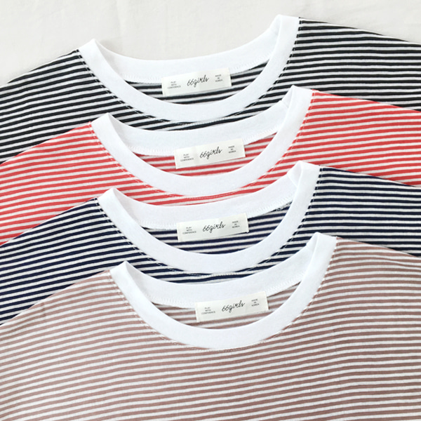 66GIRLSLoose Fit Stripe T-Shirt