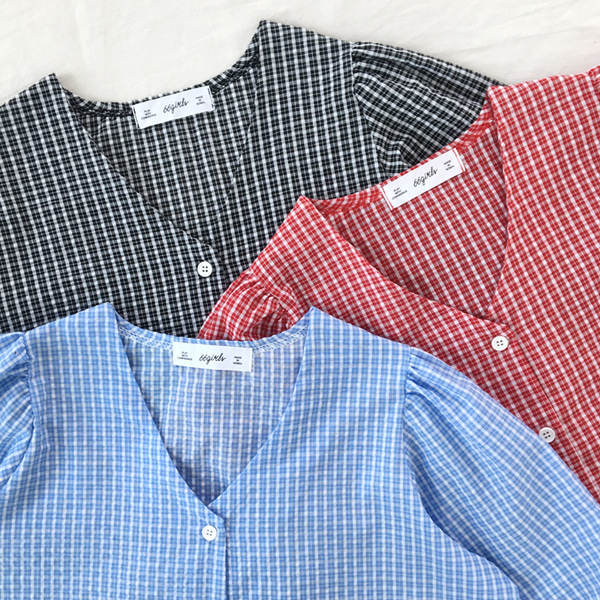 66GIRLSV-Neck Check Blouse
